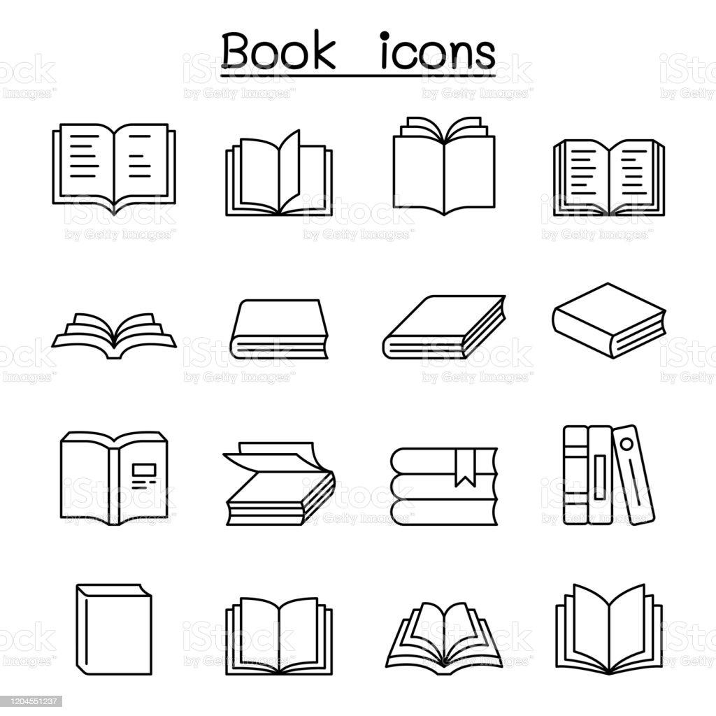 Book icon set in thin line style - Royalty-free Aberto arte vetorial