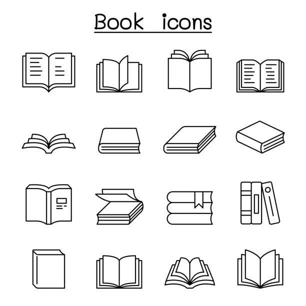 Book icon set in thin line style Book icon set in thin line style book icons stock illustrations