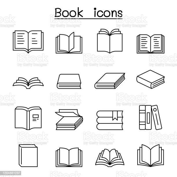 Book Icon Set In Thin Line Style - Arte vetorial de stock e mais imagens de Aberto