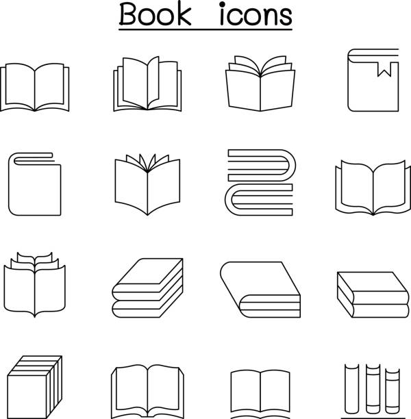 Book icon set in thin line style vector art illustration