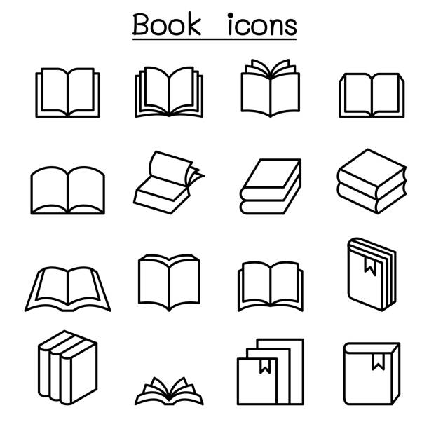 Book icon set in thin line style Book icon set in thin line style book clipart stock illustrations