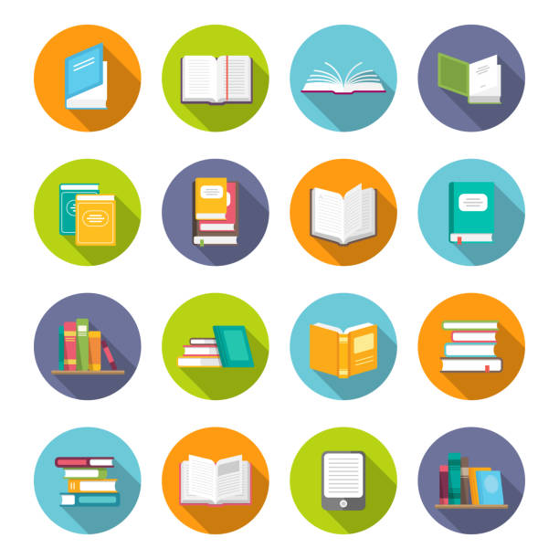 Book icon set Book icon set. Learning facts, information, descriptions, or skills, study or investigation textbooks. Vector flat style cartoon illustration isolated on white background book icons stock illustrations