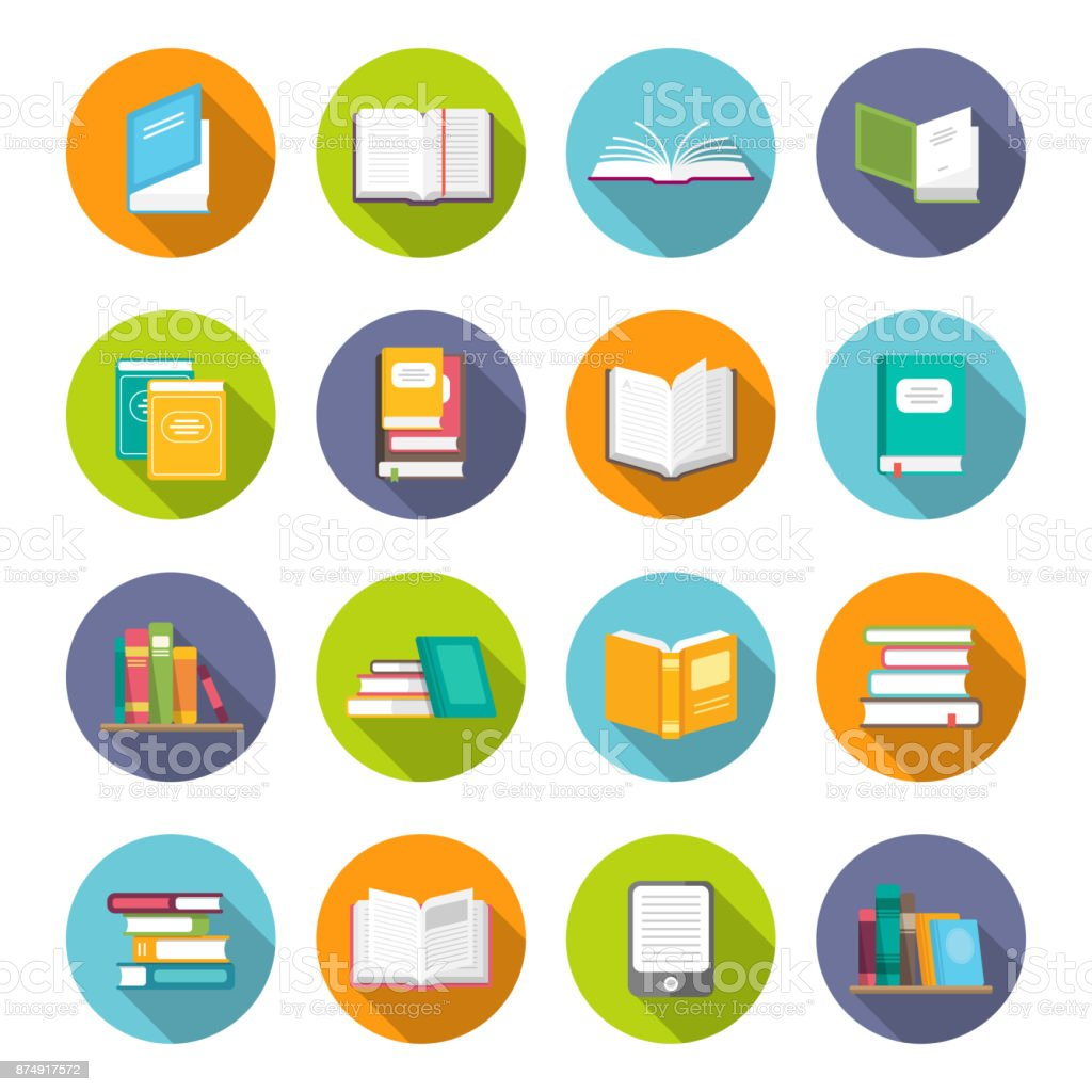 Book icon set vector art illustration