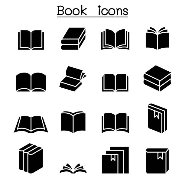 book icon set - book clipart stock illustrations