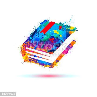 Book icon. Vector watercolor colorful splash paint