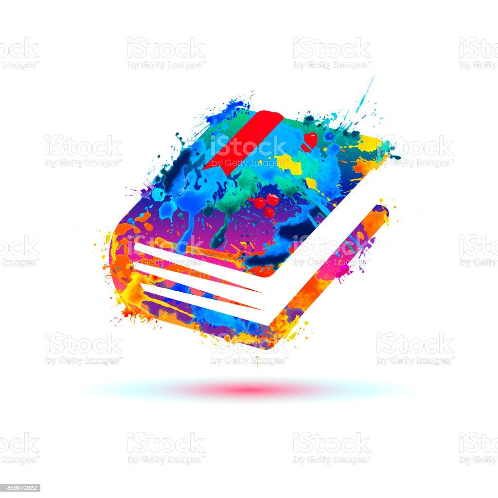 Book icon. Vector splash paint векторная иллюстрация