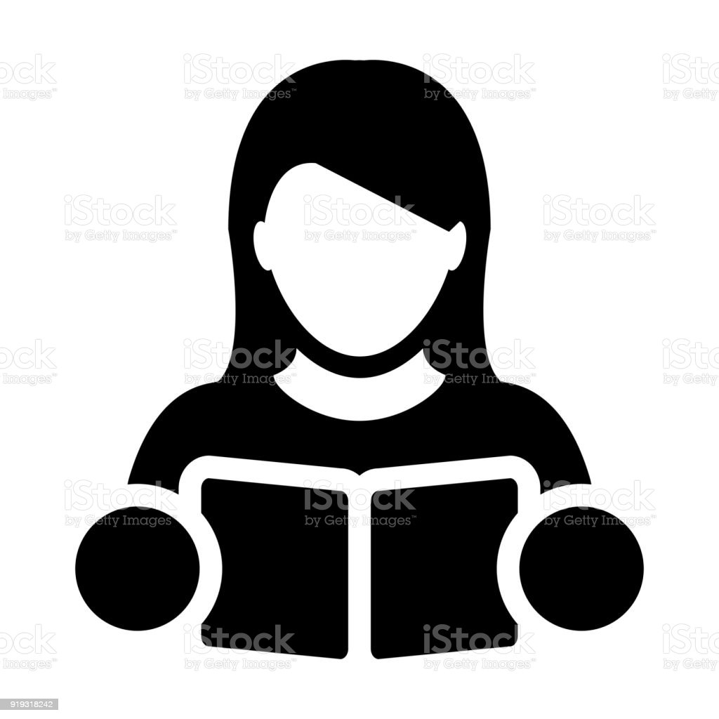 Book Icon Vector With Female Student Or Teacher Person Profile