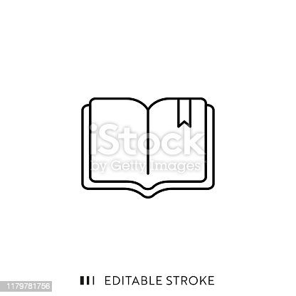 istock Book Icon with Editable Stroke and Pixel Perfect. 1179781756