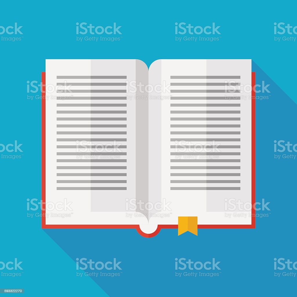 book icon with long shadow. flat style vector illustration vector art illustration