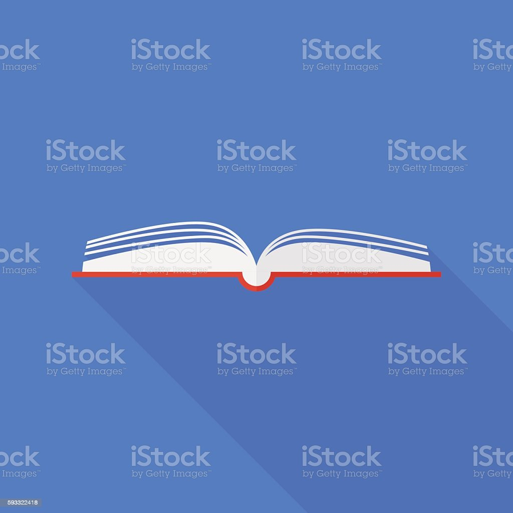 book icon with long shadow. flat style vector illustration向量藝術插圖