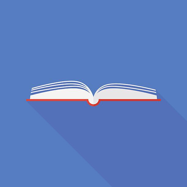 book icon with long shadow. flat style vector illustration - buchstabenschreibweise stock-grafiken, -clipart, -cartoons und -symbole
