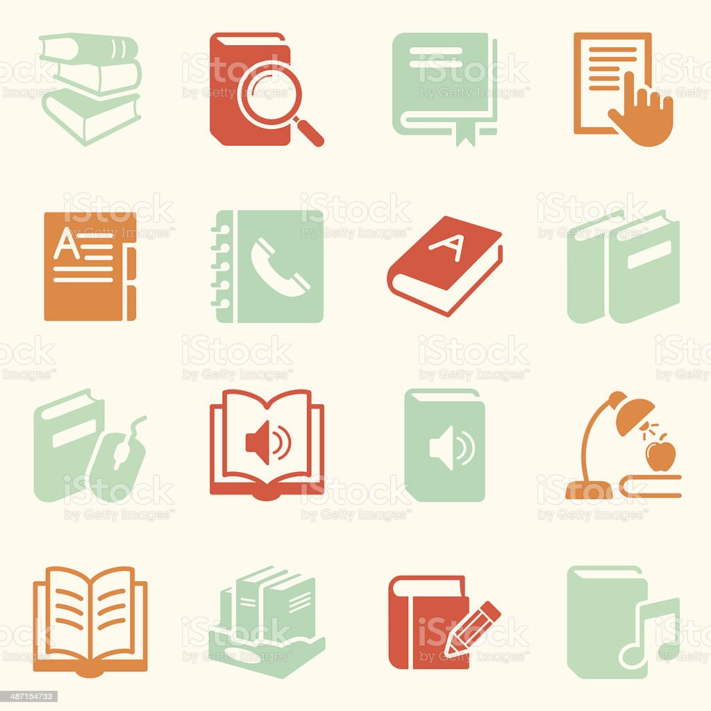Book Icons - Background vector art illustration