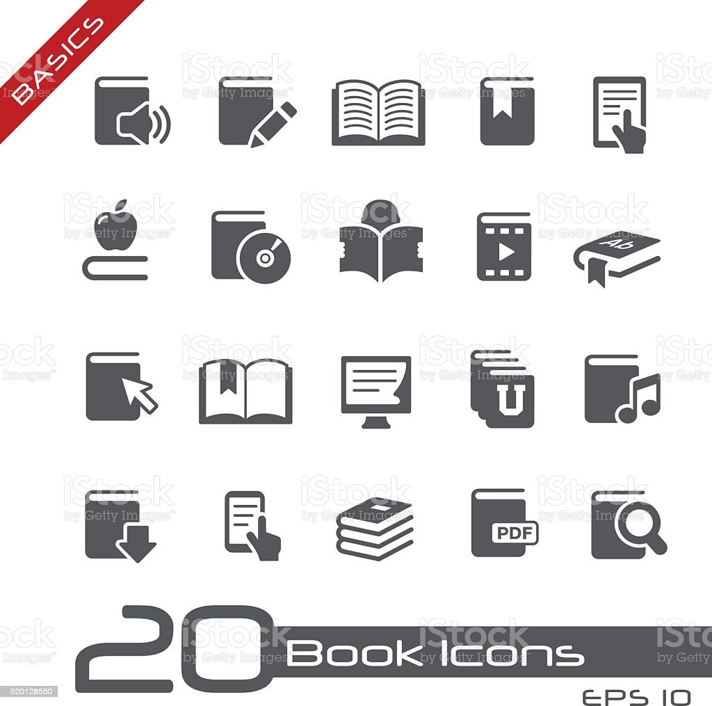 Book Icons - Basics vector art illustration