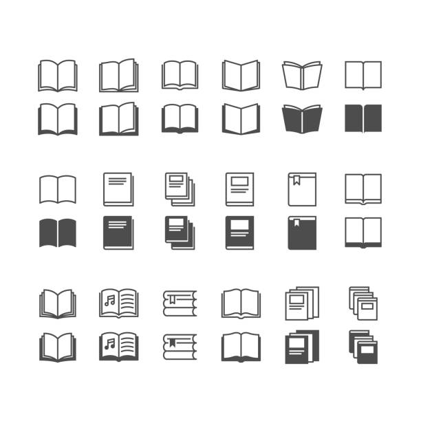 book icons, included normal and enable state. - book icons stock illustrations