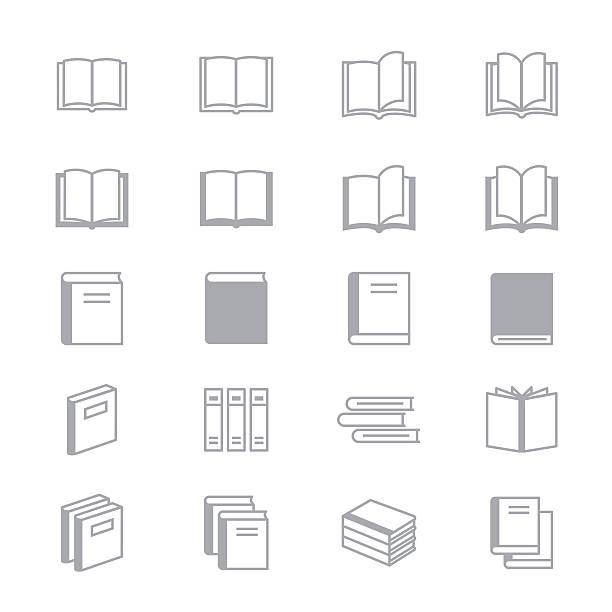 book icons line set of vector design illustration - fotografieanleitungen stock-grafiken, -clipart, -cartoons und -symbole