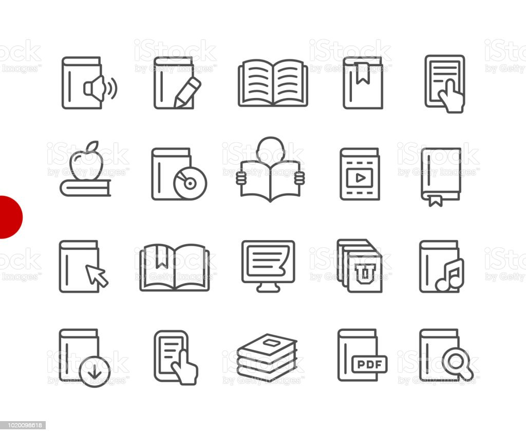 Book Icons // Red Point Series - Royalty-free Aprender arte vetorial
