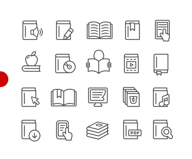 book icons // red point series - book symbols stock illustrations