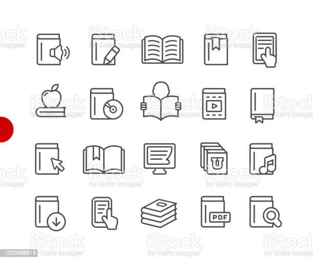 Book Icons Red Point Series - Arte vetorial de stock e mais imagens de Aprender