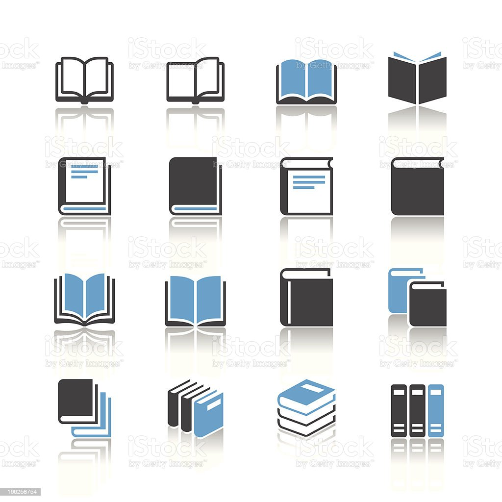 Book icons - reflection theme vector art illustration