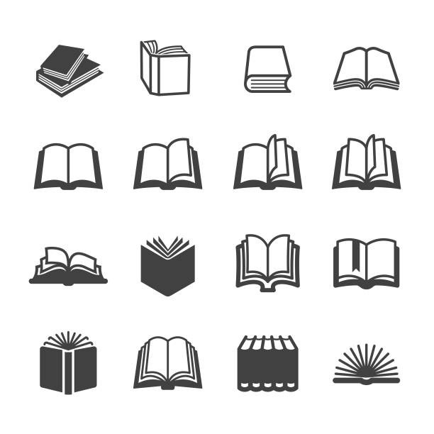 stockillustraties, clipart, cartoons en iconen met boek iconen set-acme series - prentenboek