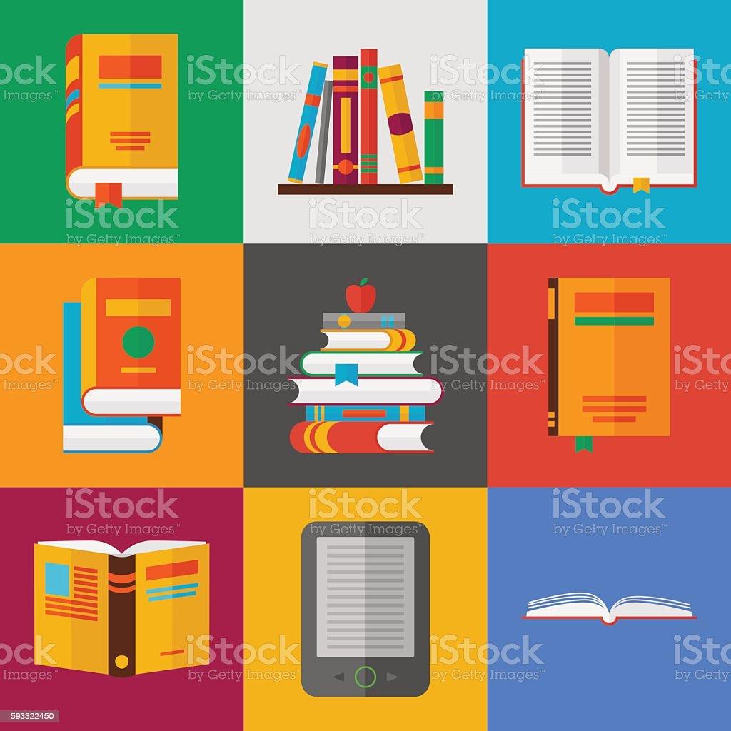 book icons set. flat style vector illustration vector art illustration