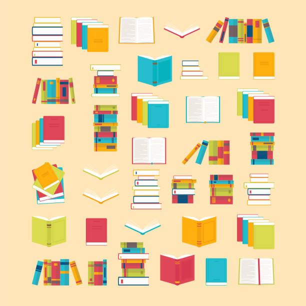 illustrazioni stock, clip art, cartoni animati e icone di tendenza di book icons set in flat style for your design. school books background. library, bookstore. education concept - book