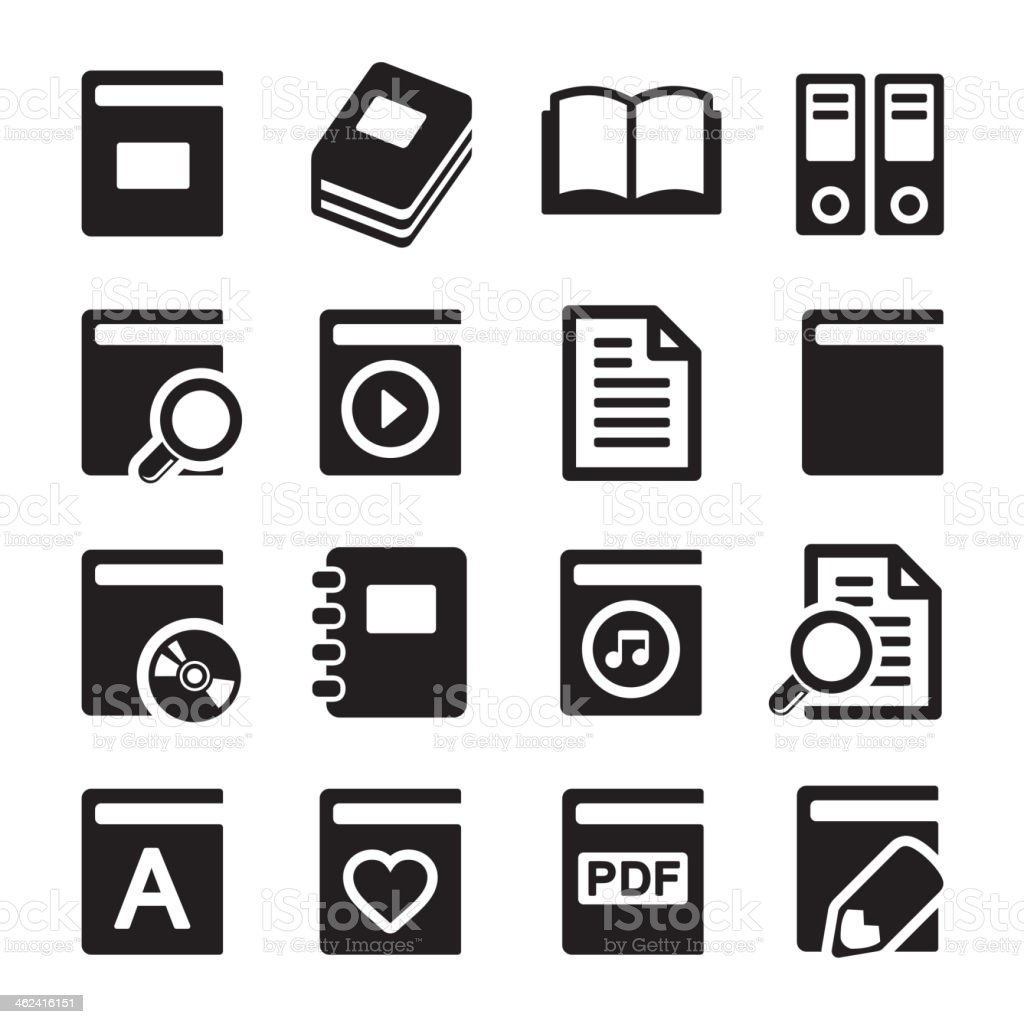Book icons set on white background vector art illustration