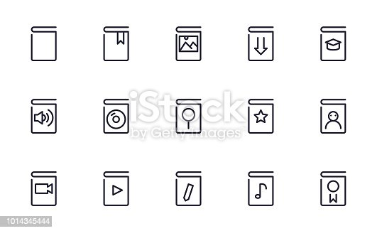 Book icons set outline style