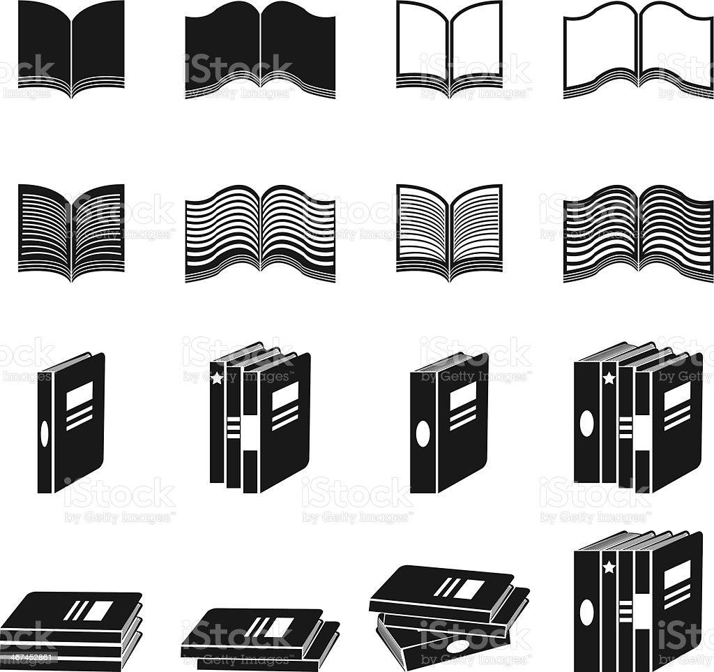 Book icons set vector art illustration