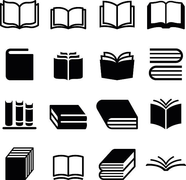 book icons set - book icons stock illustrations