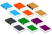 Book Icons. Set Vector Isolated Pictogram of Different Colors