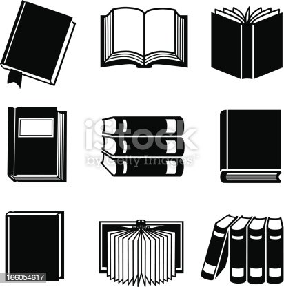 Vector icons of various books.