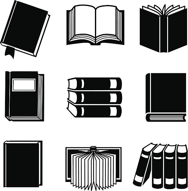 book icons Vector icons of various books. book silhouettes stock illustrations