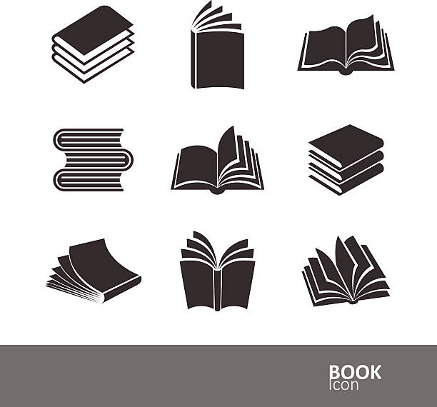 book icons - book silhouettes stock illustrations