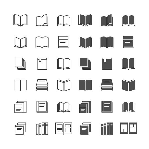Book icons Simple vector icons. Clear and sharp. Easy to resize. No transparency effect. EPS10 file. Included normal and enable state. book icons stock illustrations