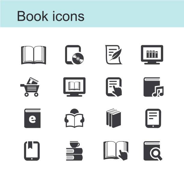 Book icons Vector book icon e reader stock illustrations