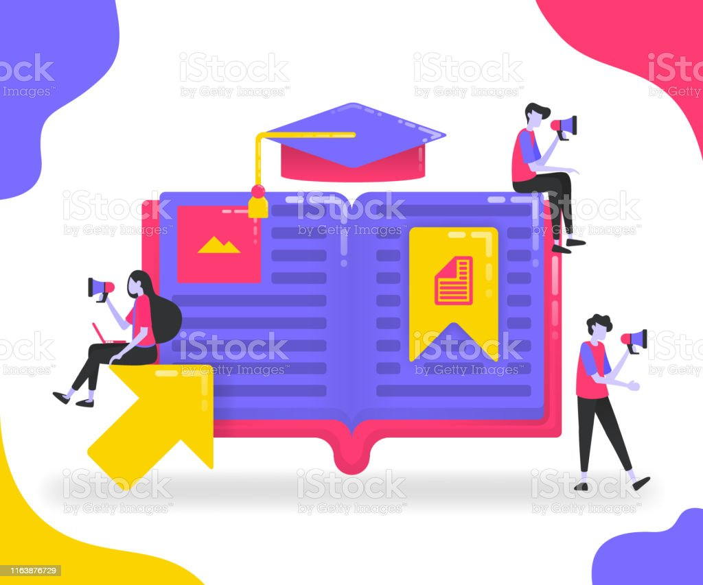 Book illustrations for education. Students who study between books or...