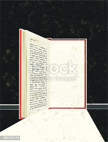 Loose yourself in a good book! A stylized vector cartoon of a book in the shape of an open door with light streaming in, the style is  reminiscent of an old screen print poster. Suggesting opportunity, hope, Education, reading, escape, or losing yourself in good book. Book, Background, paper texture and background are on different layers for easy editing. Please note: clipping paths have been used,  an eps version is included without the path.