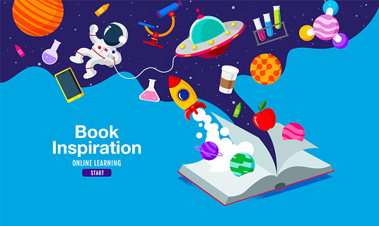 Book Inspiration, Online Learning, study from home, back to school, flat design vector.