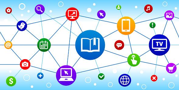 Book Internet Communication Technology Triangular Node Pattern Background