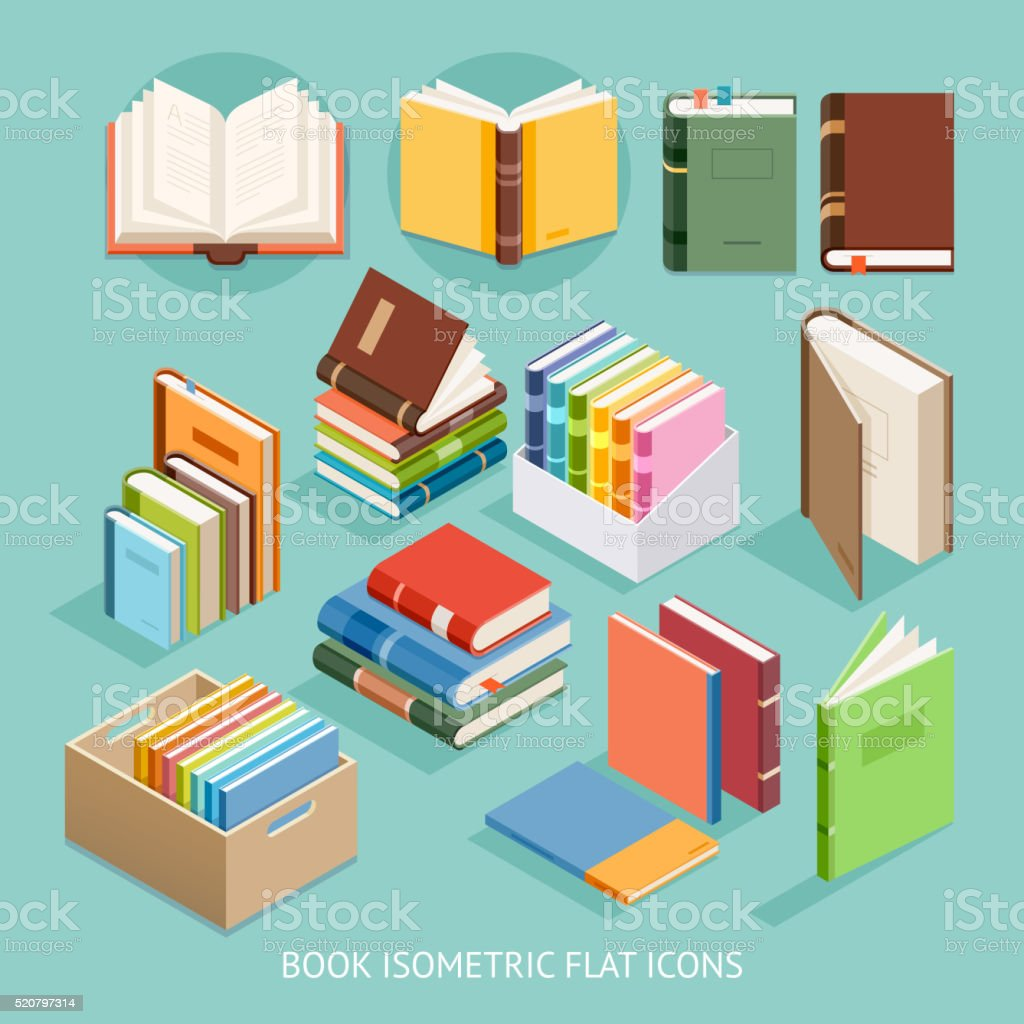Book Isometric Flat Icons set.向量藝術插圖