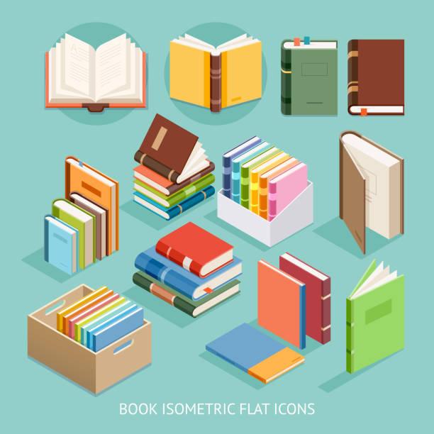 Book Isometric Flat Icons set. vector art illustration