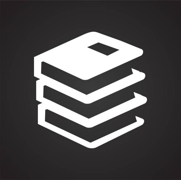 Bücherwissen Symbol auf schwarzem Hintergrund für Grafik und Webdesign, modernen einfachen Vektor-Zeichen. Internet-Konzept. Trendige Symbol für Website-Design-Web-Taste oder mobile app. – Vektorgrafik