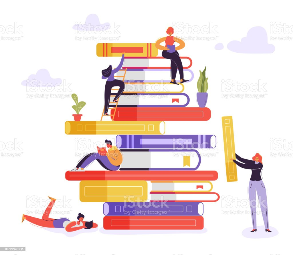 Book Library Educational Concept. Characters Reading Books. Young Readers Man and Woman Learning, Studying and Education. Vector illustration vector art illustration