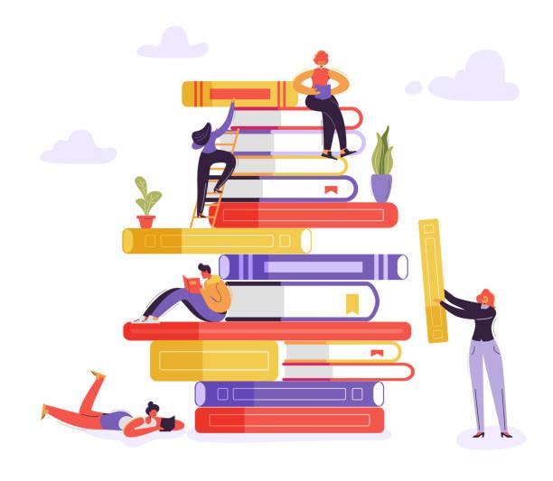 illustrations, cliparts, dessins animés et icônes de livre bibliothèque concept pédagogique. caractères de lecture de livres. jeunes lecteurs homme et femme d'apprentissage, l'étude et l'enseignement. illustration vectorielle - bibliothèques