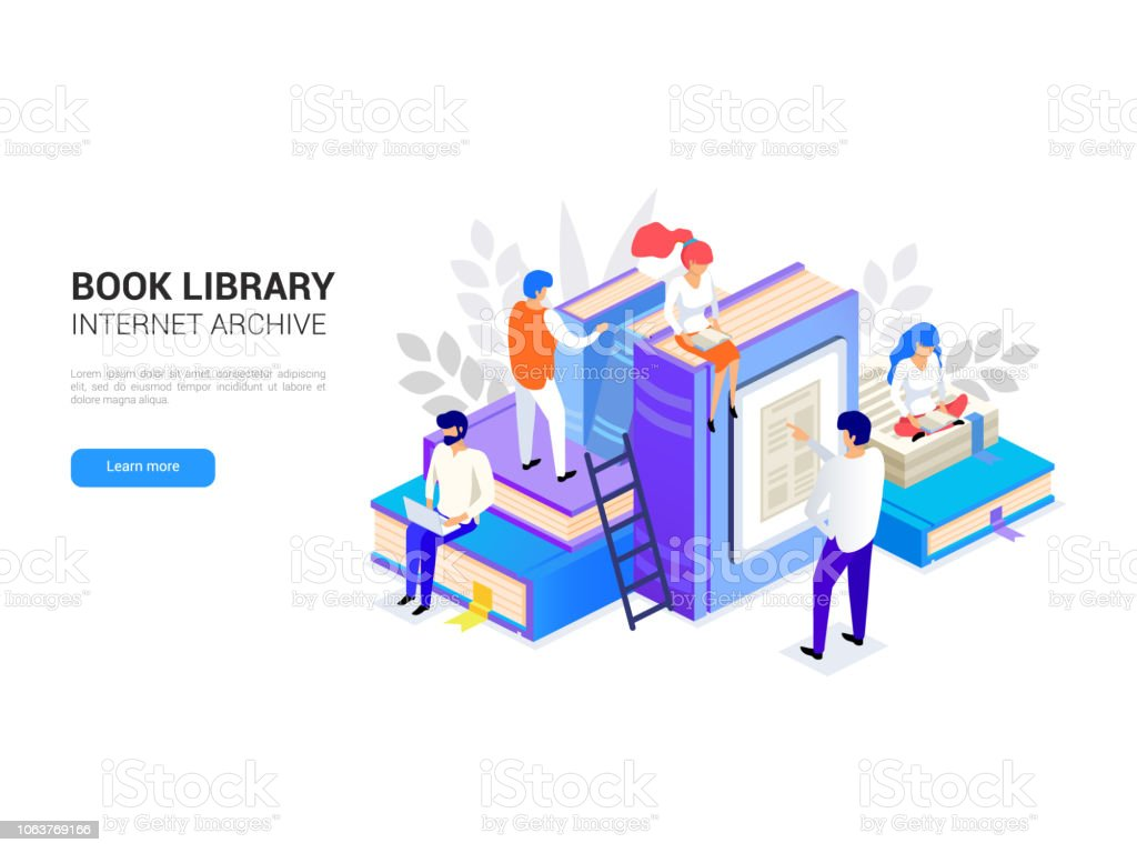 Book library isometric. Internet archive concept and digital learning for web banner. E-library and distant education vector illustration Book library isometric with people. Internet archive concept and digital learning for web banner. Dictionary, encyclopedia and literature e library vector illustration isolated on white Archives stock vector