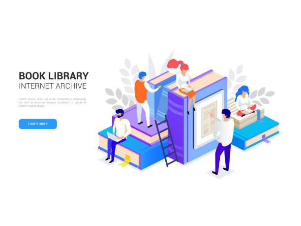 ilustrações, clipart, desenhos animados e ícones de biblioteca de livros isométrica. conceito de arquivo de internet e aprendizado digital para banner web. e-biblioteca e ilustração vetorial de educação distante - bibliotecas