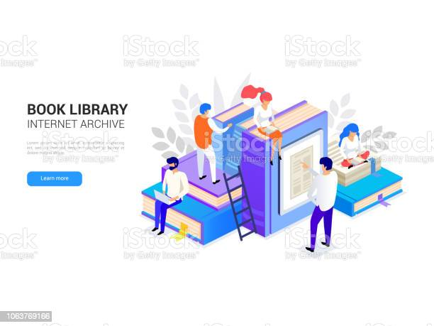 Book Library Isometric Internet Archive Concept And Digital Learning For Web Banner Elibrary And Distant Education Vector Illustration Stock Illustration - Download Image Now