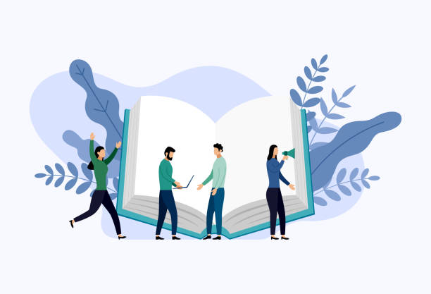 Book library or book festival poster concept banner, education vector illustration Book library or book festival poster concept banner, education vector illustration encyclopaedia stock illustrations
