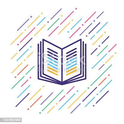 Line vector illustration of library.
